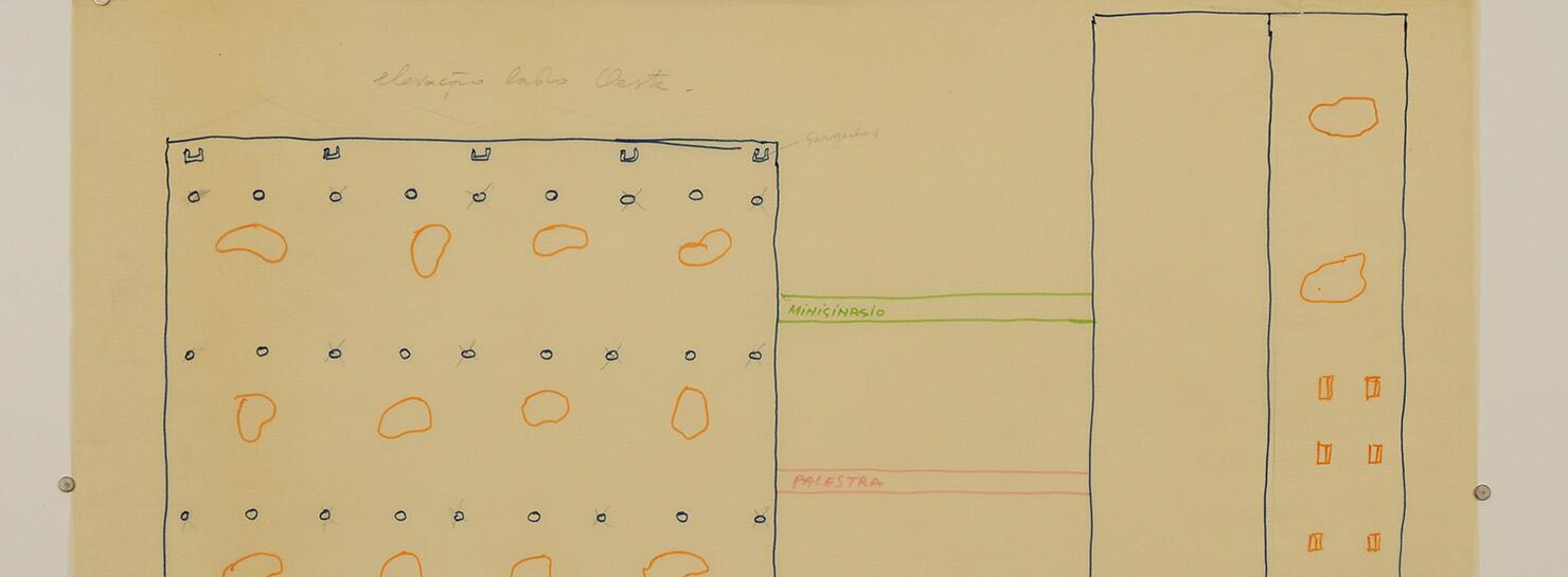 Detalhe da Elevação do SESC - Fábrica da Pompéia | © Instituto Lina Bo e P.M. Bardi/foto: Henrique Luz