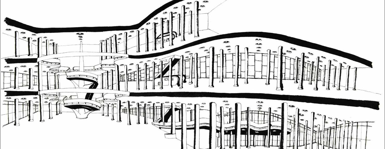 Desenho do pavilhão da Bienal de São Paulo.